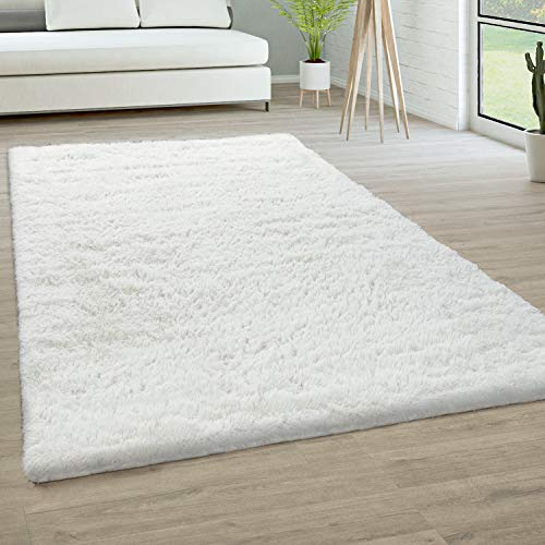 Tapis De Salon Poils Longs Fausse Fourrure Shaggy Moelleux Monochrome, Dimension:120x170 cm, Couleur:Blanc