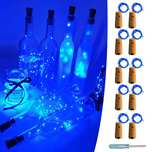 UNIQLED 10 Packs 20 LED Wine Bottle Cork Starry String Lights Battery Operated Fairy Night Wire Lights for DIY Wedding Decor Party Christmas Holiday Decoration (Blue)