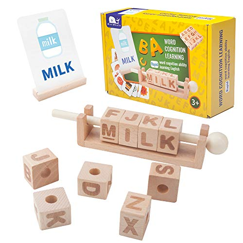 MINIWHALE Wooden Letter Blocks of Fun and Education, Spinning Manipulative Letter Blocks for Children with Easy-Grip Handle, Toys for Kids Age 3-6 Years Old - Preschool Education