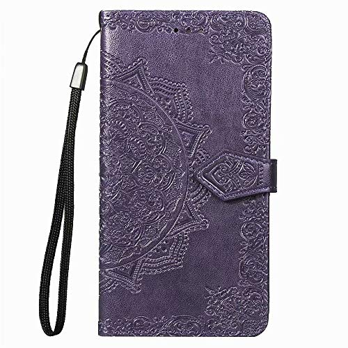 Wuzixi Wallet Cover for Realme 6. Stand Function, Slot Cart, Flip Case PU Leather Bumper Case with, Case Cover for Realme 6.Purple