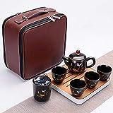 Ksnrang Set da tè da Viaggio in Ceramica in Stile Cinese retrò da Lavoro Borsa per Il Trasporto Riunione Festiva Regalo pubblicitario Personalizzazione Logo-Estate