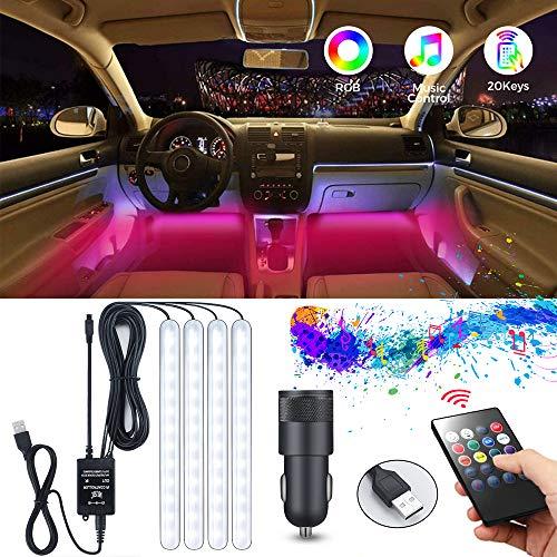 Auto Innenbeleuchtung LED Atmosphäre Licht, MEckily 48 Auto Streifen Licht LED Leuchten Auto Innenraumbeleuchtung USB-Port Auto Lichtleiste mit