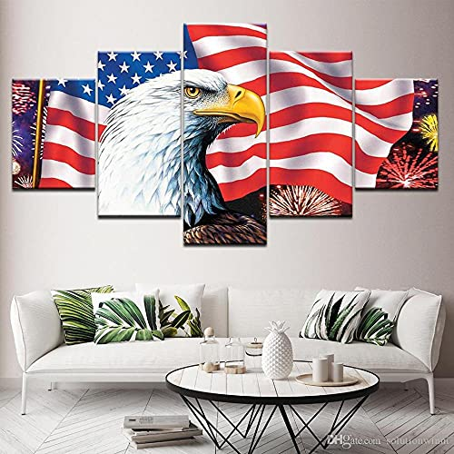 GHYTR Águila, Bandera Americana Cuadro sobre Impresión Lienzo 5 Piezas Marco 150X80Cm HD Arte De Pared Modulares Sala De Estar Dormitorios Decoración para El Hogar Póster Regalo