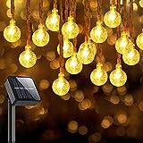Solar Lichterkette Aussen 80 LEDs, 32.8Ft Solar Fairy Lights Outdoor, Wasserdichte Solarlichterkette für Außen/Innen 8 Modi für Garten, Bäume, Patio, Weihnachten, Hochzeiten, Partys (Warmweiß)