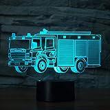 Coche de bomberos Modelo 3d Luz de noche Usb Botón táctil Coche Lámpara de mesa de escritorio 3d 7 colores Cambio de atmósfera Iluminación de sueño Regalo