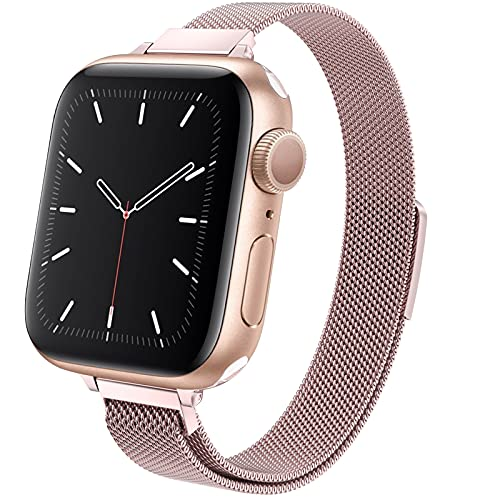 MRAIN-H Compatible with Apple Watch Band 38mm 40mm 42mm 44mm, Slim & Thin Stainless Steel Women Wristband with Strong Magnetic Clasp Replacement Band for iWatch Series 6/SE/5/4/3/2/1