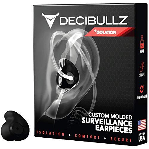 Decibullz Custom Molded Security Radio Surveillance Earpiece Set, Thermo-Fit Designed for Clear Acoustic Tube Radios, Isolation