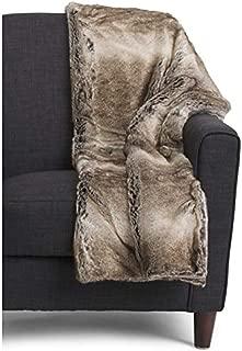 Tahari Luxe Alaska Faux Fur Throw Blanket Beige Tan Cream Brown Pattern 50 x 60 in …