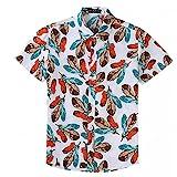 EElabper Camisa Camisa Hawaiana de la Playa de los Hombres de la Hoja Imprimir Pares Ocasionales Camisa de la Tapa