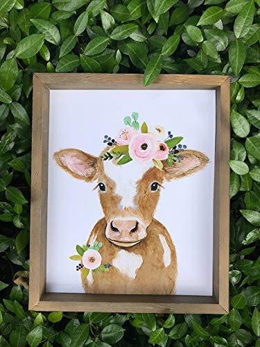 Onbekend Boerderij koe schilderij koe kalf print ingelijst kunst Kwekerij Art Decor houten bord koe boerderij decor boerderij stijl