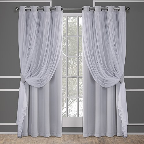 Exclusive Home Curtains Catarina Layered Solid Blackout and Sheer Window Curtain Panel Pair with Grommet Top, 52x108, Cloud Grey, 2 Count