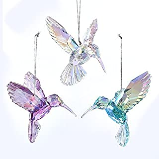 Kurt Adler 3 Assorted Acrylic Iridescent Purple, Blue and Clear Hummingbird Christmas Ornaments