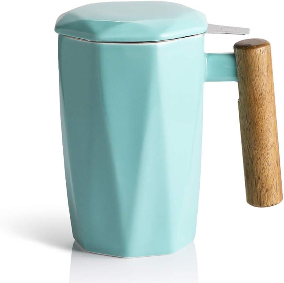 SWEEJAR Porcelain Limited time sale Tea Mug with Regular discount Infuser Lid 1 Handle Wooden and