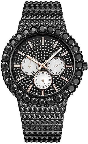 Reloj de diamantes de imitación brillante de HIP-HOP Hombre, correa de acero inoxidable de dial análogo de diamante de diamante de diamante de lujo brillante,rapero de banda pulsera de encanto hip hop