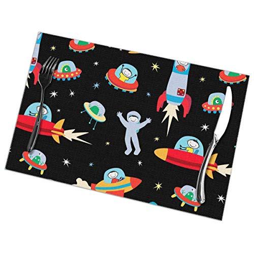 Faithe Keppel Nave Espacial Astronauta Rocket Kid Juego de 6 Piezas de manteles Individuales Pc Mesa para el hogar Platos de Comida Estera Adorno Patrón temático Niños Niñas Vajilla