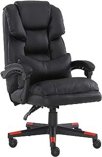 Silla de oficina clásica de cuero Boss con reposabrazos, giratoria, móvil y elevable, funciona cómodamente o juega a juegos en casa u oficina.