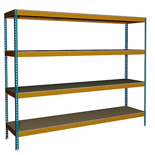 Estantería sin Tornillos Media Carga J600 con 4 niveles. Med. 2000x2400x600 mm. Color Azul/Naranja