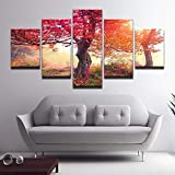 XiaoHeJD Arte de la Pared Marco Moderno Paisaje Lona Impreso 5 Paneles Otoño Arce Rojo Fotos Decoración de la Sala Pinturas-S