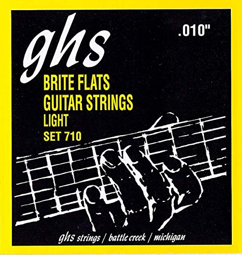 GHS 'Brite Flats' Ground Roundwound Electric Guitar Strings10-46 Light