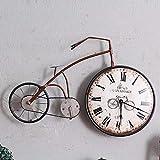 Reloj De Pared Bicicleta De Hierro Forjado Vintage Hogar Creativo Sala De Estar Dormitorio Decoración De Pared, Bicicleta Marrón Mediana