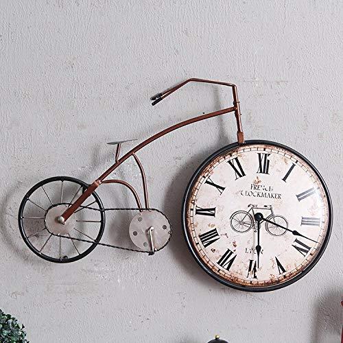 VBLSJ Reloj De Pared Bicicleta De Hierro Forjado Vintage Hogar Creativo Sala De Estar Dormitorio Decoración De Pared, Bicicleta Marrón Mediana