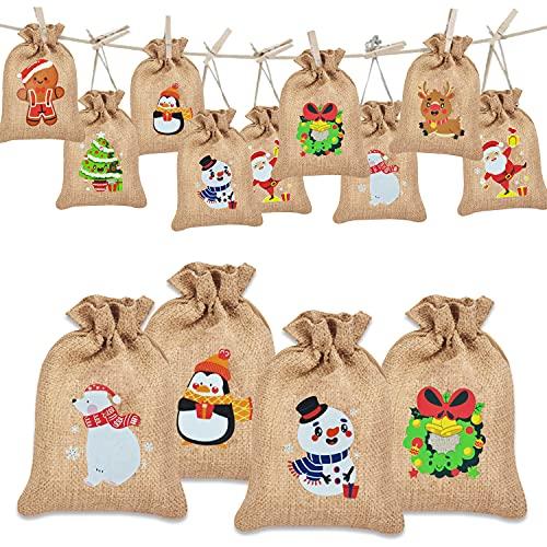 16 x Jutesäckchen Weihnachten Jutesack Klein Nikolaussack für Adventskalender Stoffbeutel Weihnachts Geschenktüten Geschenksäckchen Geschenkbeutel Jute Säckchen zum Befüllen und Verschenken