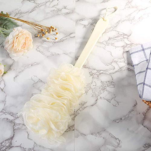 Dusenly Cepillo de baño de mango largo,  masajeador de espalda,  masaje de ducha,  spa,  esponja suave,  cepillo de baño (beige)