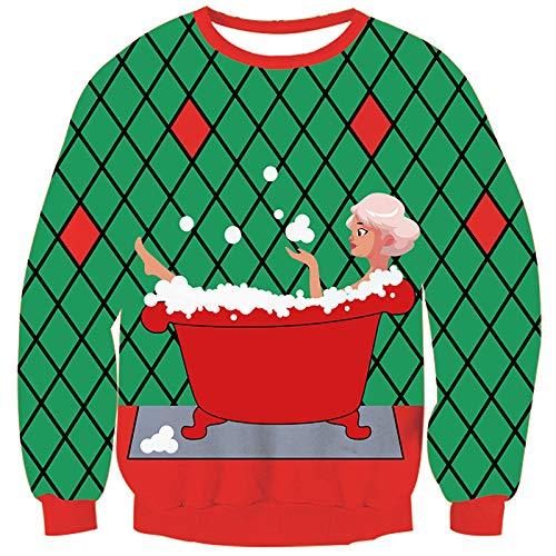 Goodstoworld Ugly Weihnachtspullover Männer Frauen Unisex 3D Gedruckter Weihnachtsmann Hässliche Weihnachten Pullover Jumper Ugly Christmas Sweater L