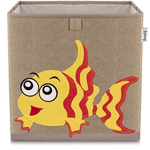 Lifeney Kinder Aufbewahrungsbox I praktische Aufbewahrungsbox für jedes Kinderzimmer I Kinder Spielkiste I Niedliche Spielzeugbox I Korb zur Aufbewahrung von Kinder Spielsachen (Fisch dunkel)