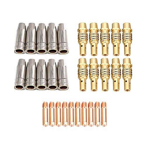 Duradero 30pcs 15ak antorcha de acero inoxidable de acero inoxidable consejos de barras electrodos de boquillas puntas de puntas para la máquina de soldadura MIG-MAG Reemplazar partes antiguas