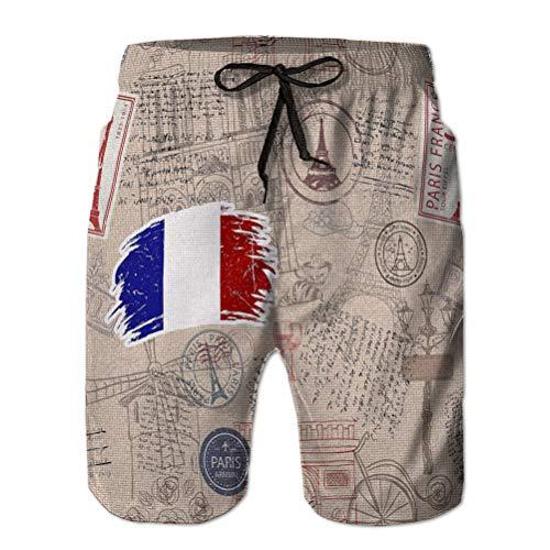 Holefg3b Uomini Estate Traspirante Costume da Bagno Pantaloncini da Spiaggia Francia Simboli Icone Seamless Pattern Composto da francobolli Collezione da Viaggio Tessuto di Fondo