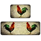Farmhouse Rooster Kitchen Rug Set 2 Pieces Cushioned Kitchen Floor Mats Comfort Soft Standing Doormat, Non Slip Rugs and Runner Retro Farm Chicken