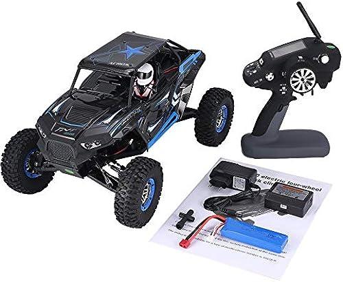 CHOULI Wltoys 10428-B 1 10 4WD 30km   h RC Crawler Klettern Gel ewagen RC Car blau-Schwarz