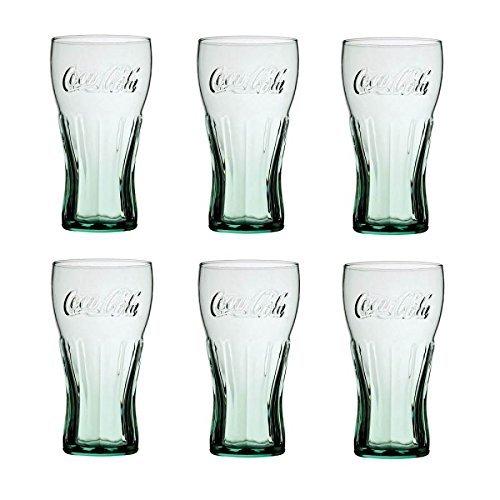 Juego de 6 vasos de cristal de Coca Cola, de 450ml