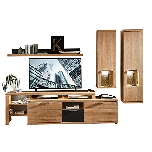 Bianco Wohnwand Komplett-Set teil-massiv aus Wildeiche - Moderne Schrankwand für Ihr Wohnzimmer - 285 x 190 x 48 cm (B/H/T)