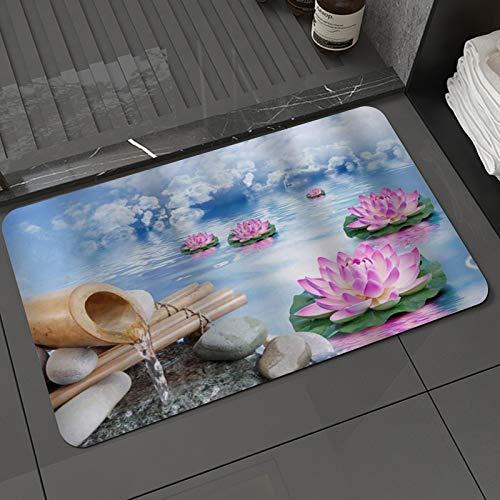 Tapis de Bain et Tapis de Sol Spa Zen Printemps Nature Asiatique Fleur de Lotus dans Le Jardin d
