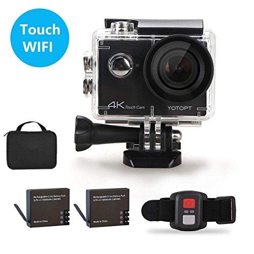 Touch Screen Action Camera 4K -YOTOPT S350 HD 16MP Videocamera 30M Impermeabile Casco Fotocamera 170° Grandangolare con Telecomando 2.4G 2 batterie da 1050mAh