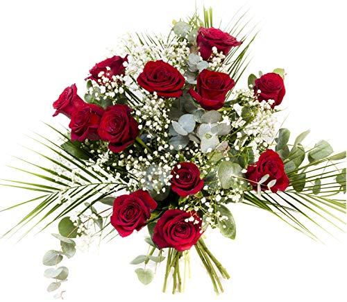 RAMO DE 12 ROSAS rojas NATURALES - ENTREGA EN 24 HORAS -Flores Frescas
