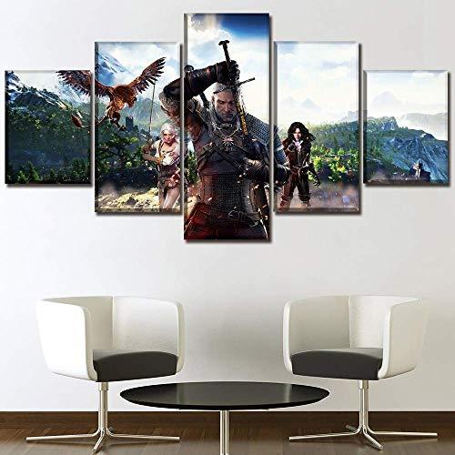X&MM Arte Moderno Pintura 5 Piezas del Juego The Witcher 3 Caza Salvaje Cuadro en Lienzo de la lámina Dormitorio Poster Pared Decorativo único e Ilustraciones,B,M