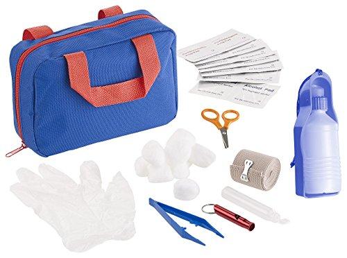 Sweetypet Verband-Tasche: 32-TLG. Erste-Hilfe-Set für Hunde mit Transport-Tasche & Wasserspender (Erste-Hilfe-Tasche für Tiere)
