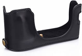 CEARI Camera Leather Half Case Bottom Case for Fujifilm X100 X100S X100T Digital Camera + MicroFiber Clean Cloth - Black