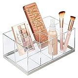 mDesign Organizador de maquillaje – Caja organizadora biselada con 5 compartimentos de plástico – Organizador de cosméticos para sombras de ojos, polvos, labiales, etc. – transparente y plateado mate