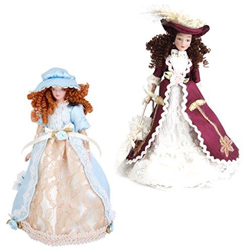 2 Pezzi Casa Bambole Miniatura Porcellana Vittoriana Con Cappello e Stand Decorazione Domestica Regalo