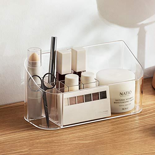 J TOHLO Make Up Organizer Beauty Organizer Transparent Schmuckaufbewahrung Kosmetikbox 9er Contouring Paletten Schminkpinsel Aufbewahrung für Dresser, Schlafzimmer, Badezimmer