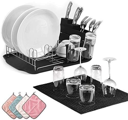 Sinbide Abtropfgestell mit 4 Lumpen,Geschirrkorb mit becherhalter,geschirrabtropfgestell, Besteckhalterkorb,geschirrabtropfer Anti-Rost,geschirrablage für küche arbeitsplatte,Geschirr abtropfgitter