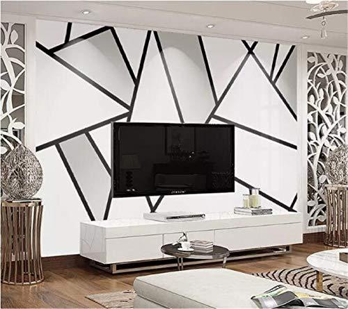 DZBHSCL 4D Behang muurschilderingen, modern, minimalistisch zwarte en witte lijnen driehoek geometrie Hd kunstdruk grootte fotobehang poster voor huis woonkamer slaapkamer muur decoratie 120in×200in 300cm(H)×500cm(W)