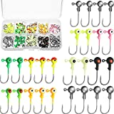 Sumind 100 Pieces Jig Head Jig Ball Fishing Jig Hooks Round Painted Fishing Lures with Plastic Box for Freshwater and Saltwater Fishing