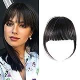 Shinon Clip in Bangs Natural Real Human Hair Flat Bangs Fringe Hair Bangs Fashion Clip in Hair Extension (Flat Bangs with Temples,Black Brown)