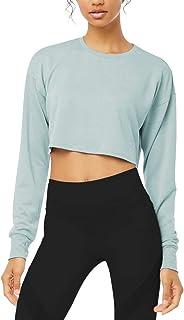 Bestisun Long Sleeve Crop Top Cropped Sweatshirt for Women with Thumb Hole