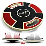 Yes4All Adjustable Wooden Round Wobble Balance Board - Ab Twister Board & Waist Twisting Disc with Handles 15.9 inch Diameter – Red-Black